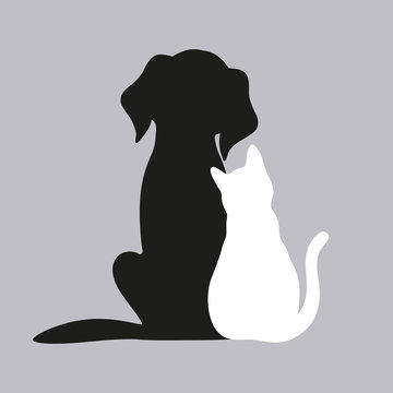 black dog and white cat on a gray background