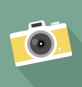 retro vintage camera long shadow icon