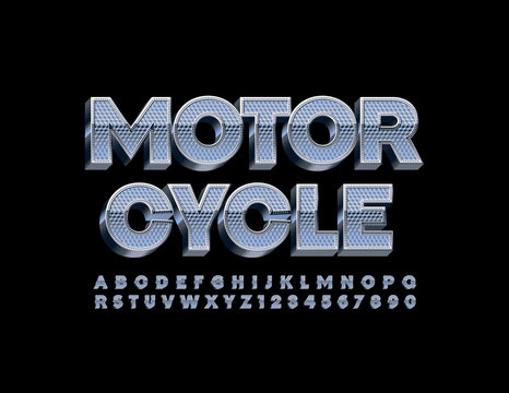 Vector metallic sign Motorcycle with Uppercase 3D Font. Chrome Alphabet Letters and Numbers