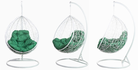 Garden wicker furniture. Hanging swing with stand and soft pillow. Set of three angles on a white background.