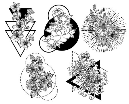 Tattoo art flower hand drawing and sketch black and white with line art illustration isolated on white background.