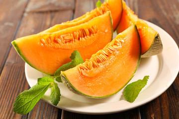 melon and slices with mint
