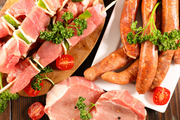assorted raw meat for barbecue