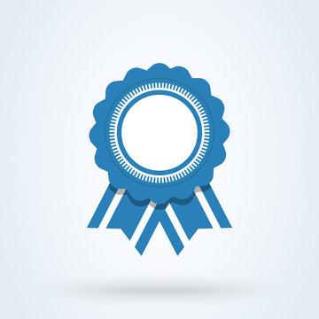 Seal ribbon blue Simple vector modern icon design illustration.