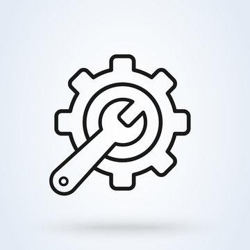 Service tool, line art gear symbol Simple vector modern icon design illustration