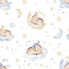Cute dreaming cartoon animal hand drawn watercolor seamless pattern. Sleeping charecher kids nursery wear fashion design, baby shower invitation
