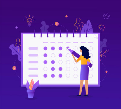 The girl makes a mark in her tracker habits. Self-improvement concept. Flat vector illustration.