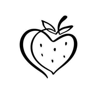 Strawberry hand drawn outline doodle icon. Vector sketch Logo illustration of healthy berry - fresh raw strawberry for print, web, mobile and infographics isolated on white background