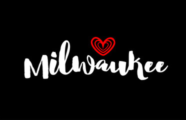 milwaukee city on black background with red heart for logo icon design