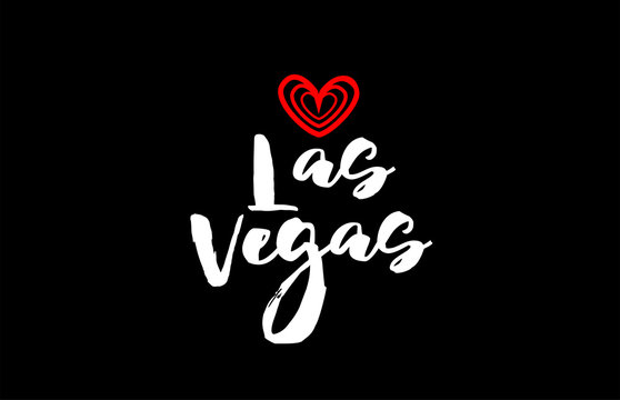 las vegas city on black background with red heart for logo icon design
