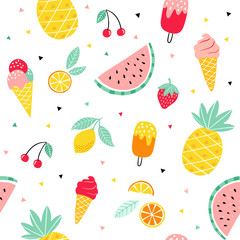 Lamas personalizadas para cocina con tu foto Summer fruit and ice cream pattern. Cute vector seamless background with pineapple, watermelon, lemon, orange, strawberry, ice cream cone, popsicle.