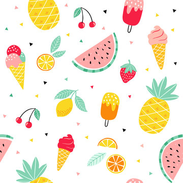 Summer fruit and ice cream pattern. Cute vector seamless background with pineapple, watermelon, lemon, orange, strawberry, ice cream cone, popsicle.