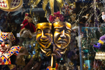 The shop display with lots of traditional Venetian masks