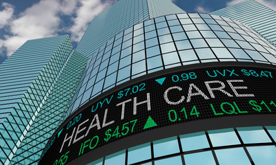 Health Care Medical Stock Market Industry Sector Wall Street Buildings 3d Illustration