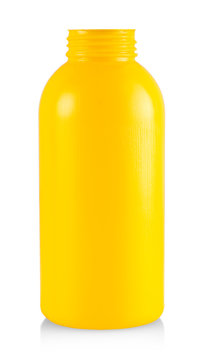 The yellow plastic bottle isolated on white background