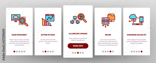 Data Analysis, Web Storage Onboarding Mobile App Page Screen Vector