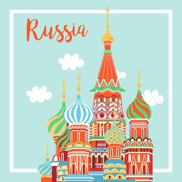 Moscow City Emblem St. Basil's Cathedral on Clear Sky - Vcetor Illustration - Vector