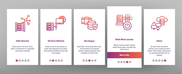 Data Center, Technology Onboarding Mobile App Page Screen Vector Icons Set. Data Analytics, Remote Access. Cloud Computing, Networking. Hosting Business Illustrations