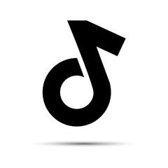 Music note. Icon Flat. Logo or emblem for musical dance social media application. Vector illustration.