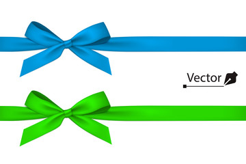 Blue and green bow with ribbon. Wall mural