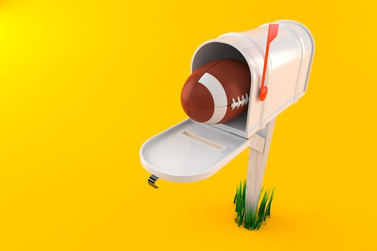 Rugby ball inside mailbox
