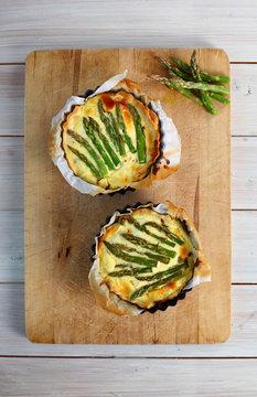 Seasonal asparagus tarts