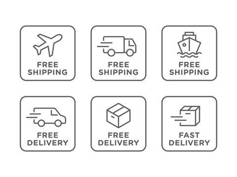 Free shipping, delivery vector icons set