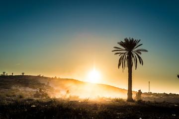 Sunset in the desert in Tunisia