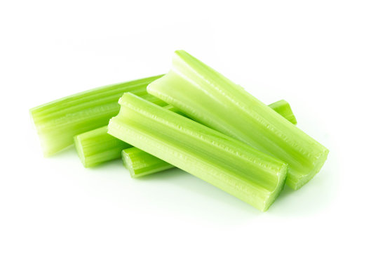 Fresh celery vegetable isolated on white background, food for health