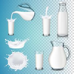 Fototapeta Set of milk product, isolated on transparent background. Splashing and pouring milk, bottle, jug, glass. obraz