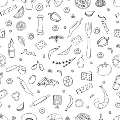 Lamas personalizadas para cocina con tu foto Hand drawn vector doodle pizza seamless pattern.  Useful for packaging, menu design and interior decorating. Hand drawn lettering. Illustration isolated on white background