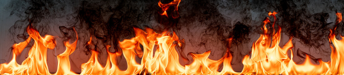 Fire flames on Abstract art black background,