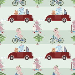 Cute dog ride on vihicle seamless pattern