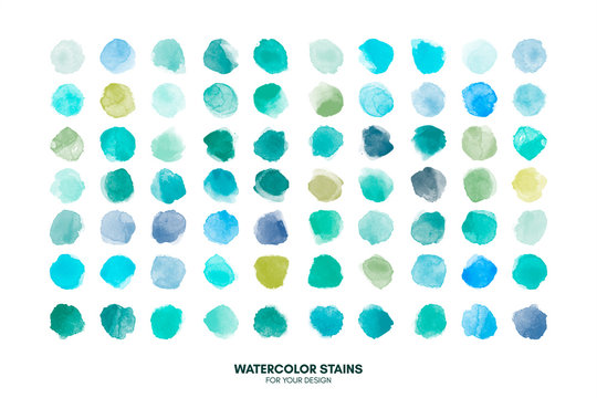 Set of colorful watercolor hand painted round shapes, stains, circles, blobs isolated on white. Illustration for artistic design. Trendy modern fashion colors