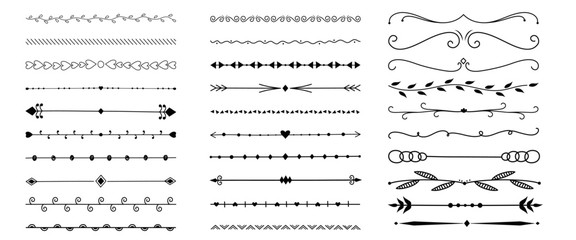 set of calligraphic elements borders for design