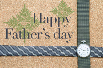 Happy Father's day card idea concept, message with men design necktie with vintage watch