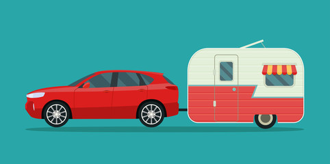 Papiers peints Cartoon voitures Red compact CUV and trailers caravan isolated. Vector flat style illustration