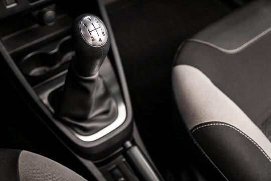 Automatic gear stick inside modern car.  automatic transmission gear of car , car interior , soft focus