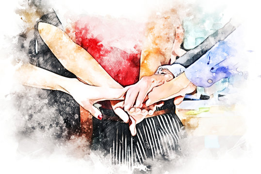 Abstract colorful handshake for business teamwork concept on watercolor illustration painting background..