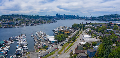 Seattle Aerial View of Lake Union Ship Docks Gas Works Downtown Skyline Wallingford