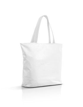 Blank white canvas tote bag isolated on white background
