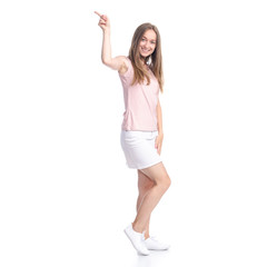 Woman in skirt showing pointing on white background isolation