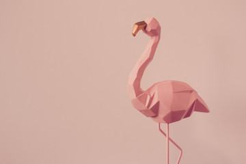 Aluminium Prints Flamingo Flamingo geometric, Beautiful Romantic Concept with a Place for Text. Pink flamingo in studio.