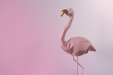 Foto op Canvas Flamingo Flamingo geometric, Beautiful Romantic Concept with a Place for Text. Pink flamingo in studio.