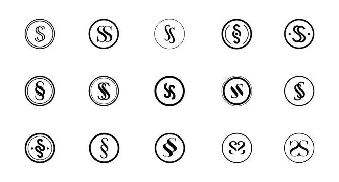 Set of black and white round SS monogram logo
