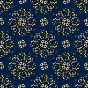 Floral Sketch Pattern Gold Blue