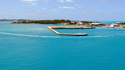 Jet skis in motion at King's Wharf, the former Royal Naval Dockyard on Ireland Island, Bermuda