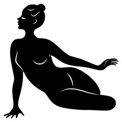 Silhouette of slender lady. Girl gymnast. The woman is flexible and graceful. She is jumping. Graphic image. Vector illustratio