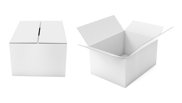 Closed and open white corrugated carton box. Big shipping packaging. 3d rendering illustration isolated