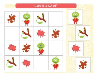 Sudoku for kids. Kids activity sheet. Training logic, educational game. Sudoku game with funny monsters.